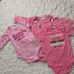 Baby Girl 3-6M Lot of 3 Long Sleeve Onsies NWOT